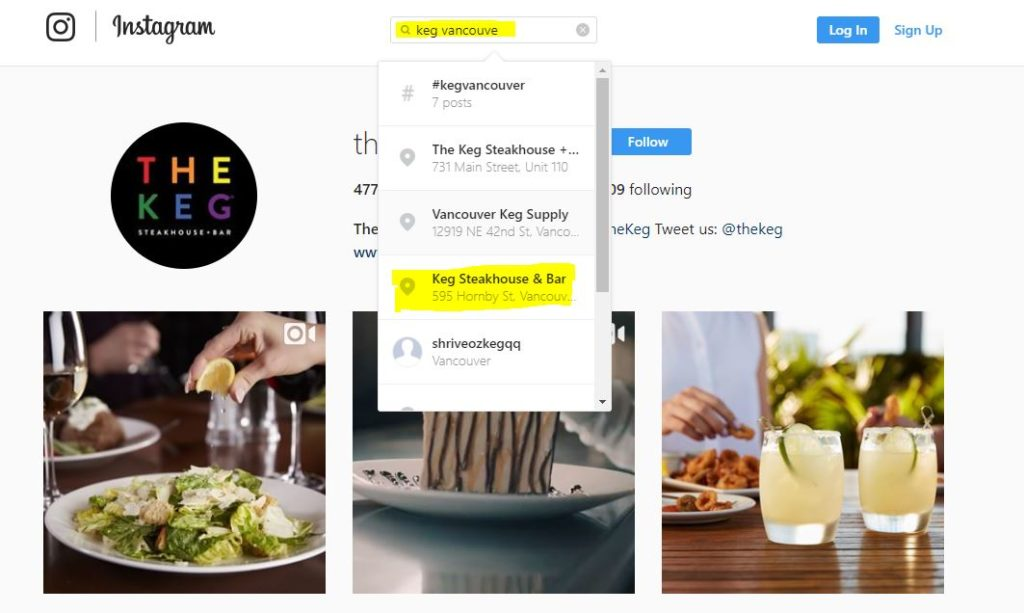 Instagram search for Keg Restaurants in Vancouver, BC